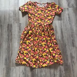 LuLaRoe Amelia Dress Pink Yellow Print Size Medium